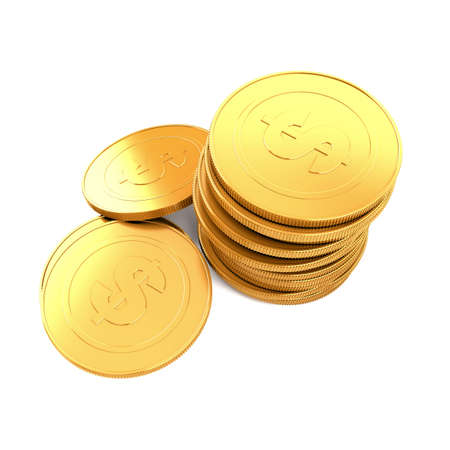 Pile of golden coins on white background photo