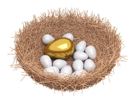 A gold egg is in a nest photo