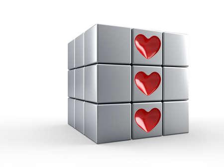 logica: Cubo con iconos de corazón rojo