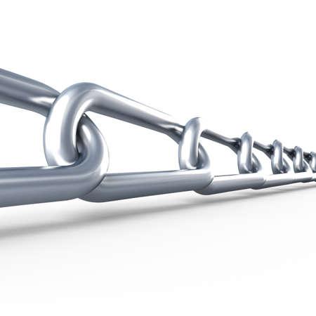 robust: Metallic chain. Isolated. 3d render illustration