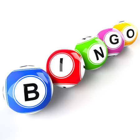 Bingo balls isolated on white background photo