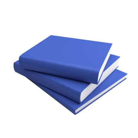 magazine stack: Blank books isolated on white. 3d render illustration