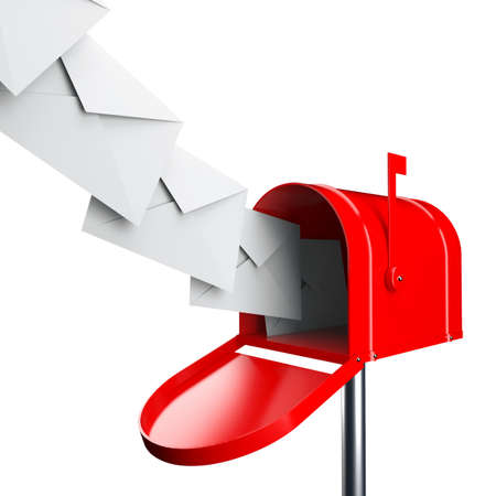 Red mailbox with letters isolated over white background Standard-Bild