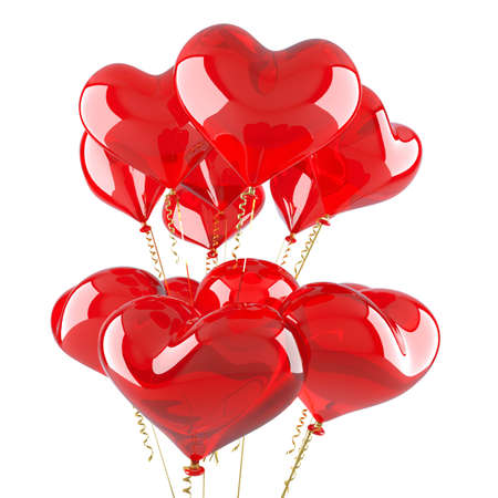 Balloons as red hearts. Character of day of Valentine photo
