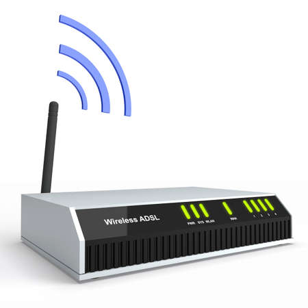 Modern wireless ADSL router isolated on white. Hertzian waves