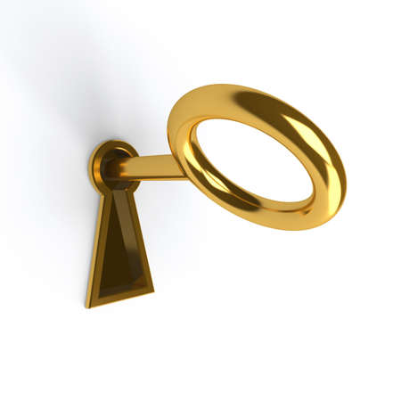 Key in golden keyhole on white photo