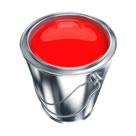 Paint can with red paint isolated on white photo