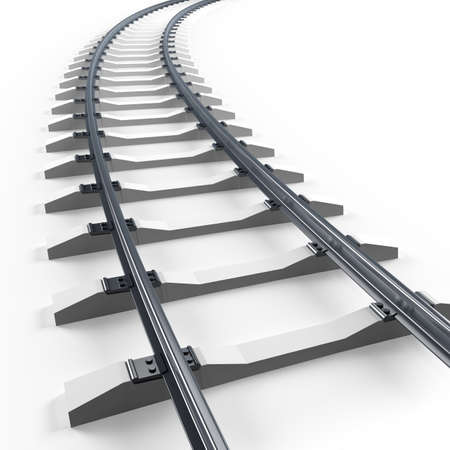 railway track: Turning railway. 3d render illustration isolated on white