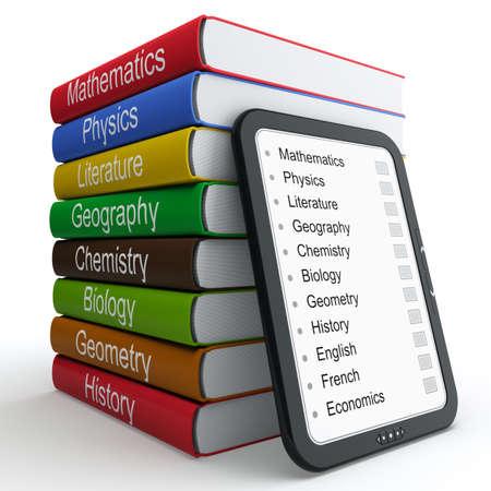 leerboek: E-book als een vervanging voor papieren boeken en studieboeken Stockfoto