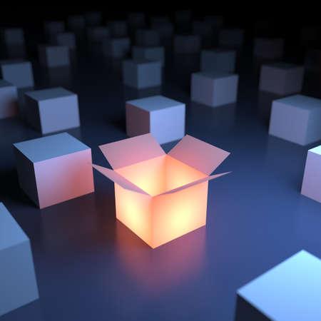 Unieke lichtgevende geopende doos. 3d abstractie Stockfoto