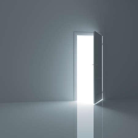 puerta abierta: Puerta, abierta de una habitación vacía fuera Foto de archivo