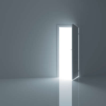 Door, opened from an empty room outside