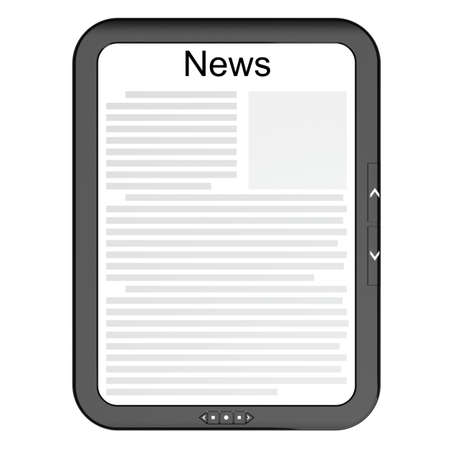 E-reader displaying the news. Front isolated photo