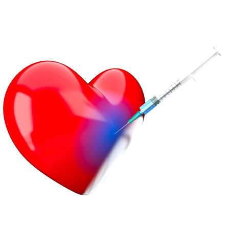 A prick a syringe is in a heart photo