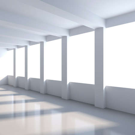 Abstract interior. Empty room with columns and windows