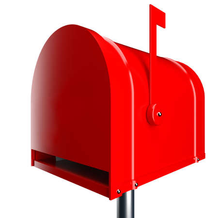 Red mailbox isolated over white background photo