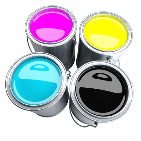 paint tin: CMYK - four paint can filled with CMYK colors. Isolated on white Stock Photo