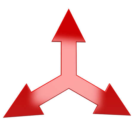 The pointer of the three arrows in different directions