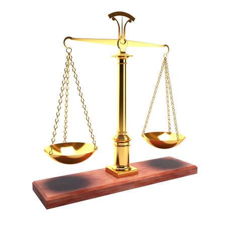 Scales isolated on white background as a symbol of justice