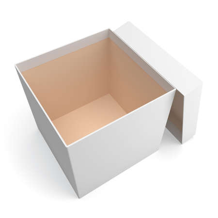 Blank open box isolated on white background photo