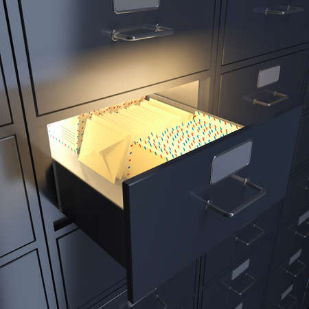 Filing cabinet for mail, letters, documents. 3d render