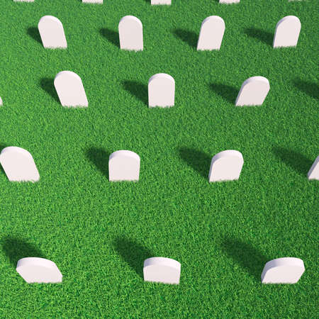 demise: Cemetery  Rows of empty tombstones in a green grass meadow  3d render iluustration Stock Photo