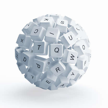 A sphere from the keys of keyboard is isolated on a white background