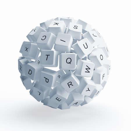 toetsenbord: Een bol van de toetsen van het toetsenbord is geïsoleerd op een witte achtergrond