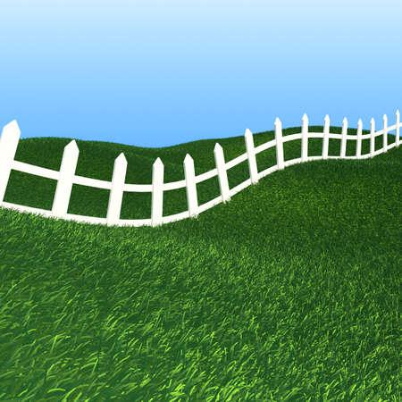 cerca blanca: Valla blanca sobre fondo verde hierba