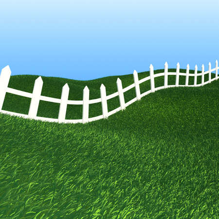 White fence on green grass background photo