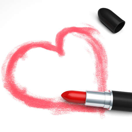 Lipstick and drawing heart on white background photo