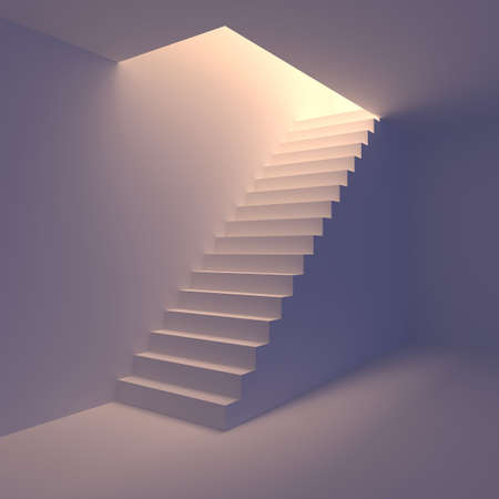 Stair from basement upstairs to light  Conception of success or religion  3d render