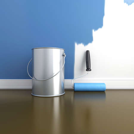 paint cans: Painting of walls in a blue color  Repair in a house  3d render Stock Photo