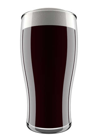 beer pint: Dark beer is in glass isolated on white background