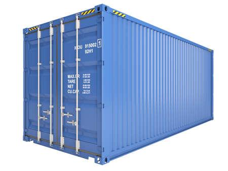 Blauwe container op wit wordt geïsoleerd