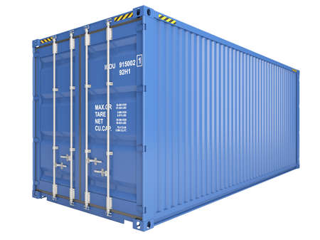Blue freight container isolated on white photo