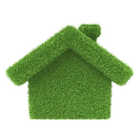 ahorro energia: Grass casa en un fondo blanco 3d icono Foto de archivo