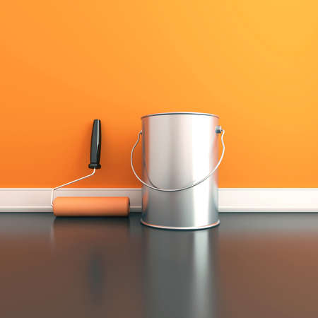 Painting of walls in a orange color  Repair in a house  3d render