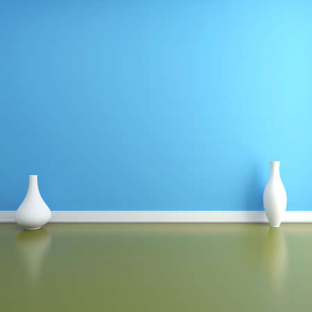 Two vases on the floor in an empty interior Stock Photo - 12687923