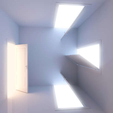 A room with a surreal arrangement of doors  Concept of choice