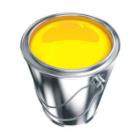 Paint can with yellow paint isolated on white