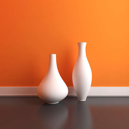 interior design: Two empty vases on the floor in an interior