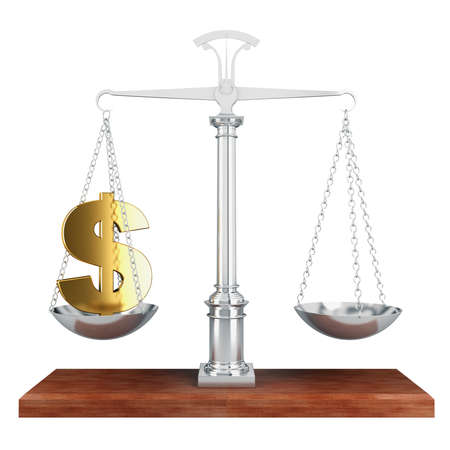 Libra  A gold sign of dollar is in the bowl of scales photo