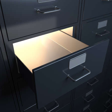 Filing cabinet for documents  3d render Фото со стока