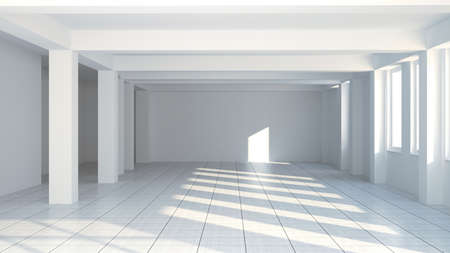 Empty wide room with columns  3d Stock Photo - 13508185