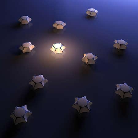 unterschiede: Einzigartige 3D-Objekt leuchtenden Abstraktion Illustration