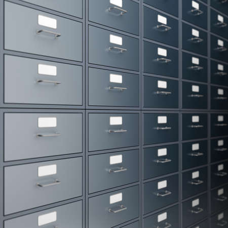 Filing cabinet for documents  3d render Stock Photo