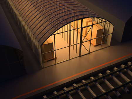 Storage facilities  Warehouse of commodity  3d render illustration illustration