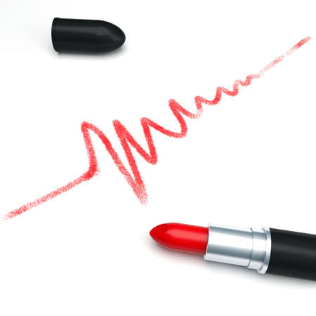 Cardiogram is drawn a red lipstick photo