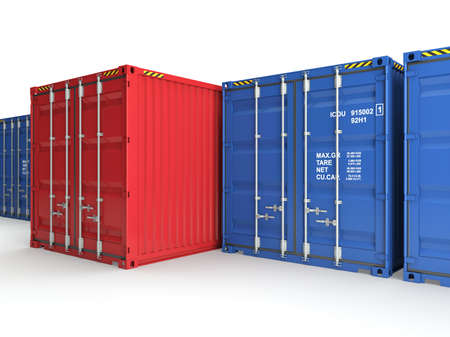 merchandize: Red freight container on a background blue containers